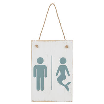 Wooden Mermaid Washroom Sign