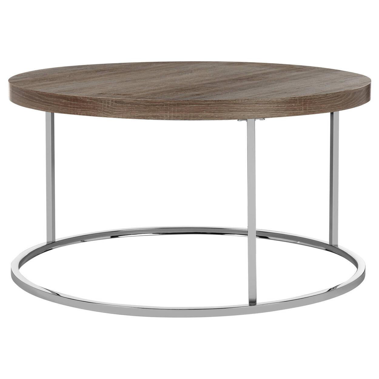 Round Wood Veneer And Chrome Coffee Table