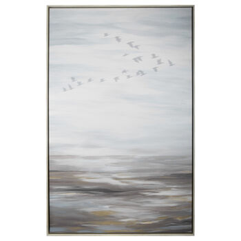 Oversized Printed & Painted Bird Framed Art