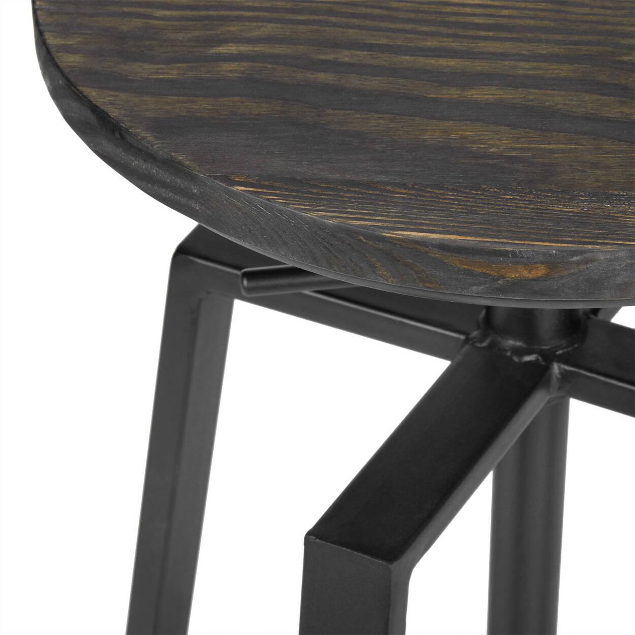 Tabouret de bar ajustable en bois d 39 orme et en m tal for Tabouret bar ajustable