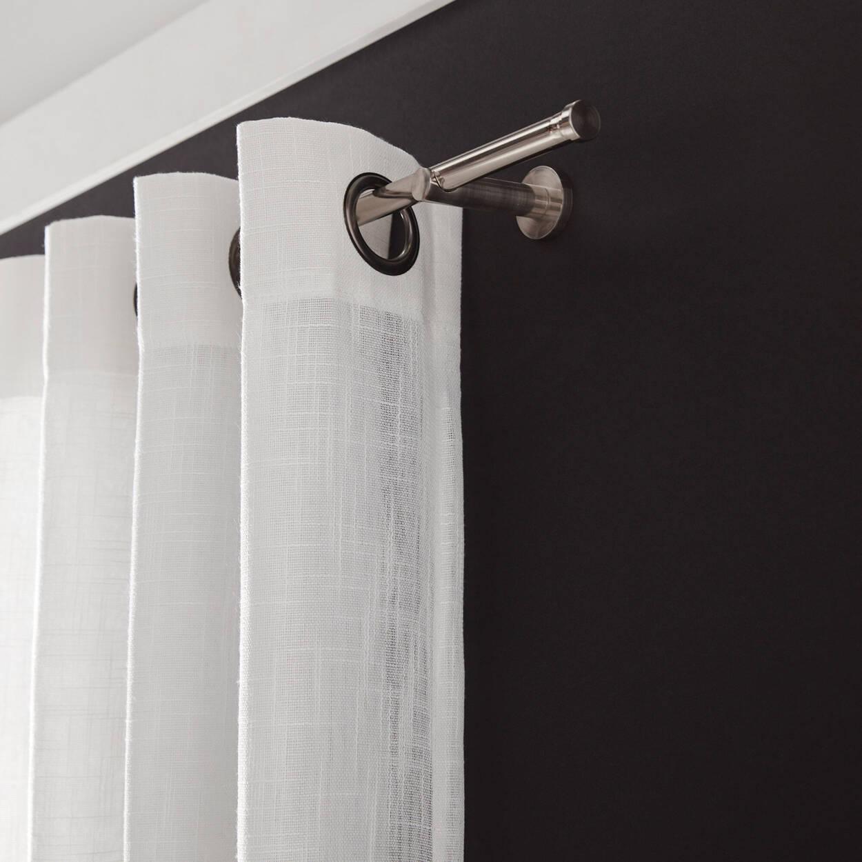 Ensemble de tringle à rideaux Savoy en nickel brossé- Diamètre 16/19 mm