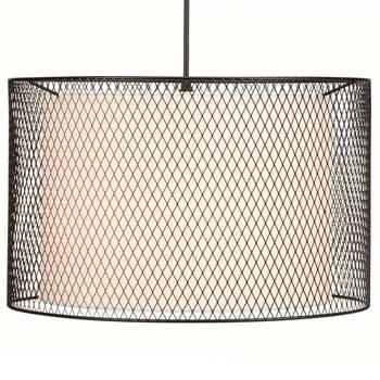 Lampe suspendue en maille métallique et en tissu