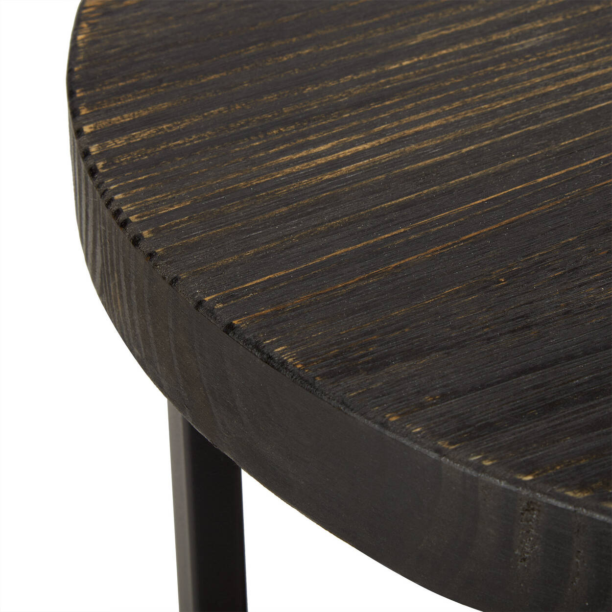 Table d'appoint ronde en bois et en métal