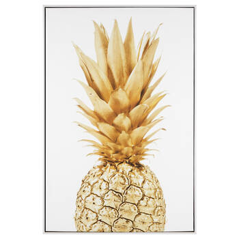 Golden Pineapple Framed Printed Canvas
