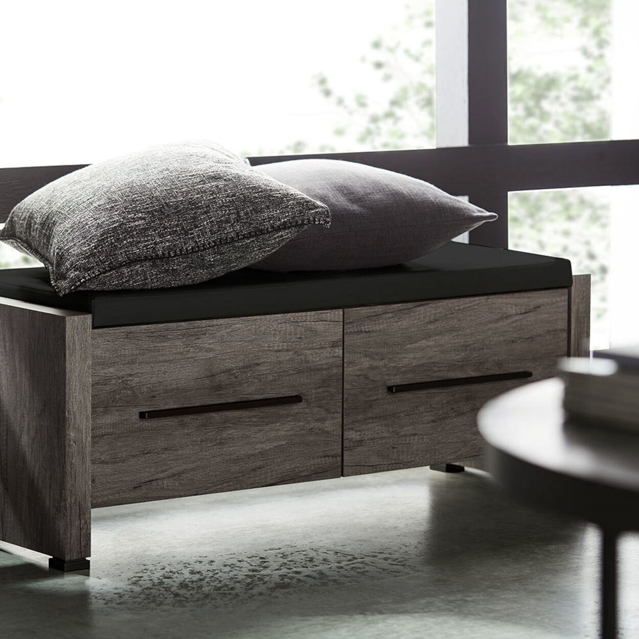 Faux Leather and Wood Veneer Storage Bench