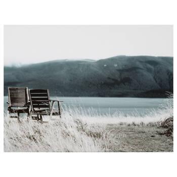 Tableau imprimé chaises près du lac