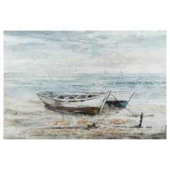 Gel-Embellished Stranded Boats Printed Canvas