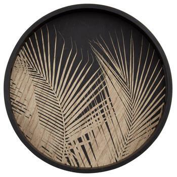 Plateau de service avec feuilles de palmier