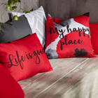 "Happy Place Water-Repellent Decorative Pillow 18"" X 18"""