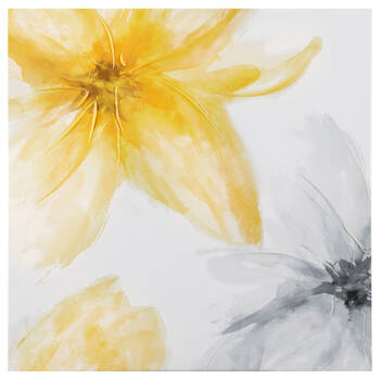 Yellow Floral Gel-Embellished Printed Canvas