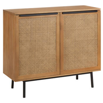 Cane Cabinet with Black Metal Legs