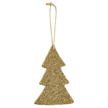 Tree Ornament with Gold Glitter