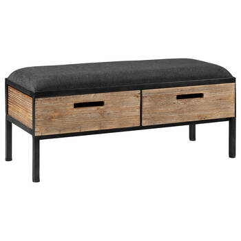 Faux Leather, Veneer and Metal Storage Bench