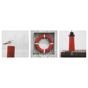 Set of 3 Red Coastal Canvases