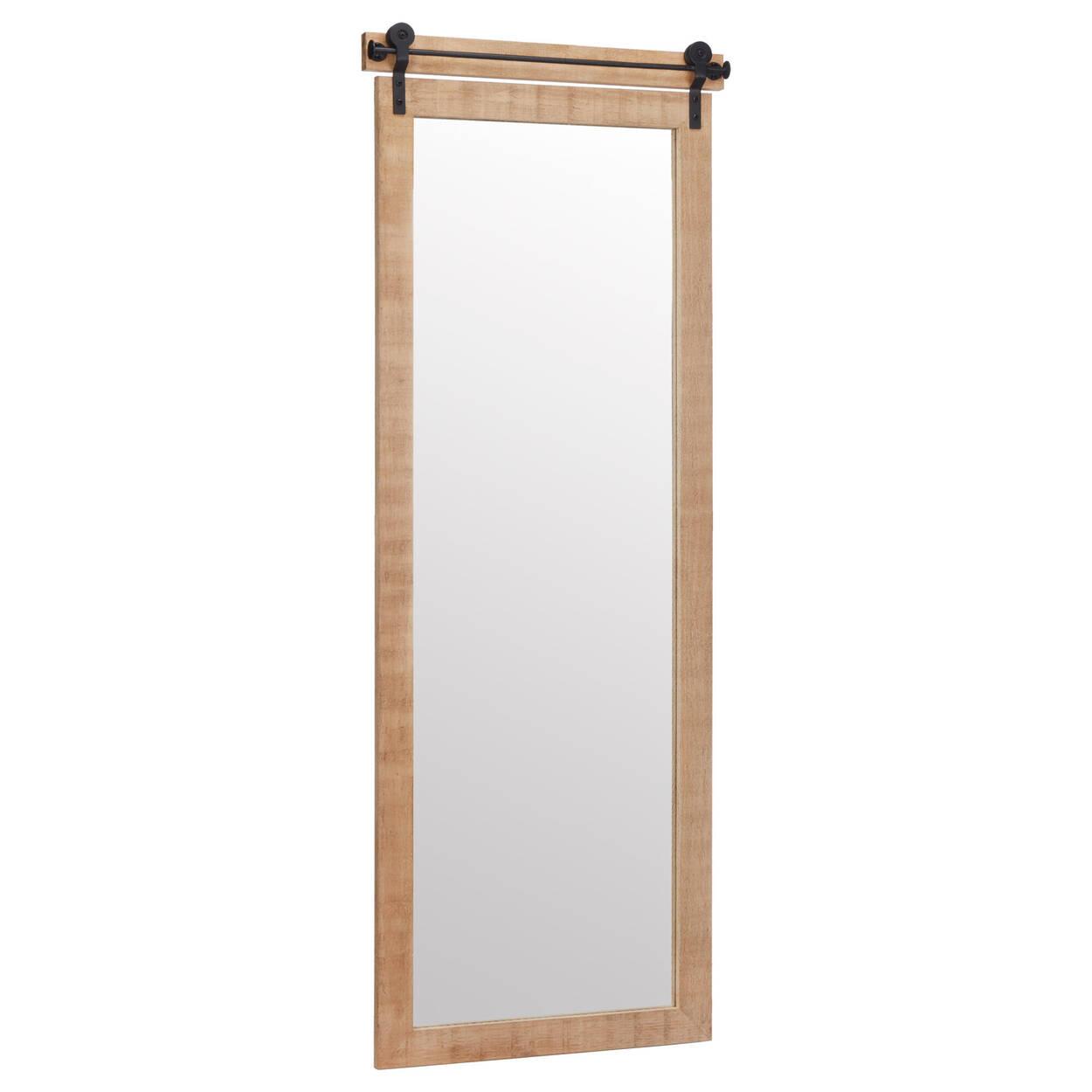 Miroir style porte de grange ton naturel