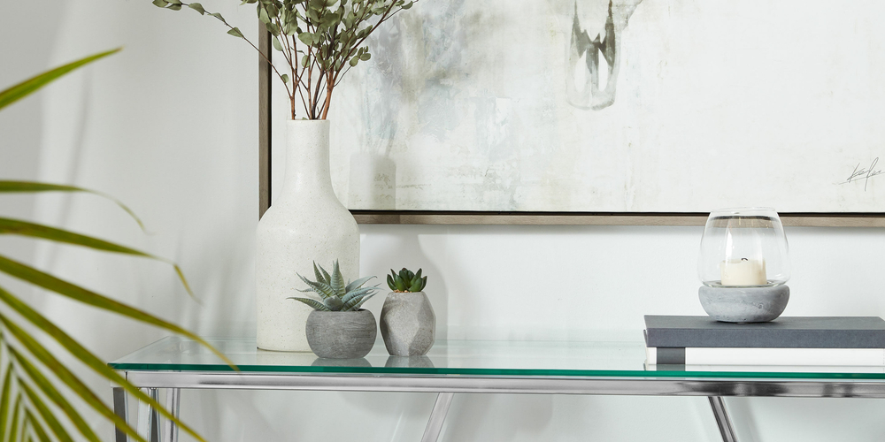 Large Glass and Cement Candle Holder