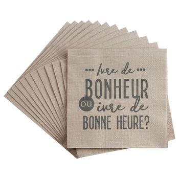 Paquet de 20 serviettes de table Bonheur