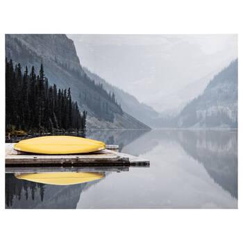 Tableau imprimé canoës jaunes