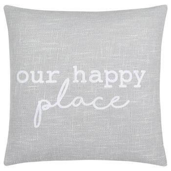 "Our Happy Place Decorative Pillow 19"" X 19"""