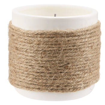 Braided Straw and Glass Candle
