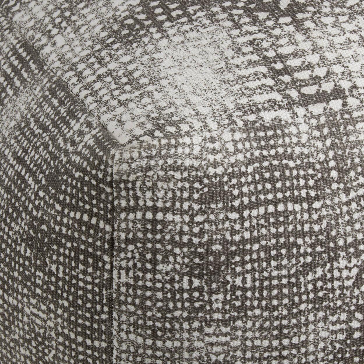 Pouf gris carré avec imprimé