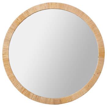Round Rattan-Framed Mirror