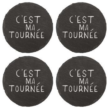 Set of 4 Round Tournée Slate Coasters
