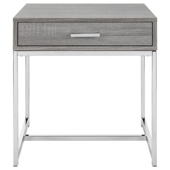 Veneer & Chrome Side Table