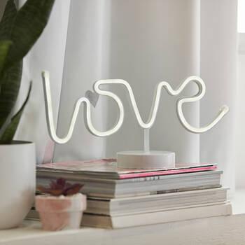 Mot décoratif Love sur pied avec lumière DEL