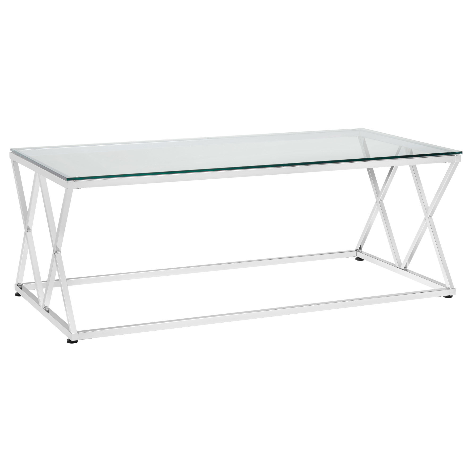 Etonnant Tempered Glass Coffee Table With Metal Legs
