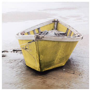 Lonely Yellow Boat Printed Canvas