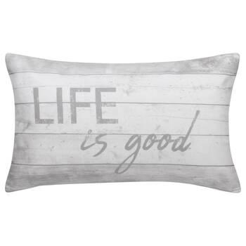 "Life is Good Water-Repellent Decorative Lumbar Pillow 13"" X 20"""