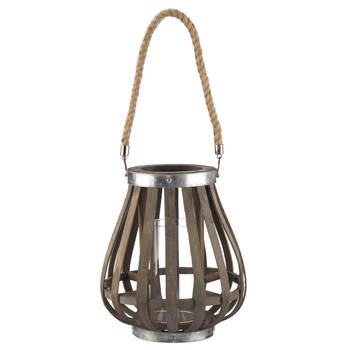 Lanterne en bois avec poignée en corde