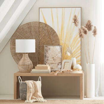 Rattan and Fabric Table Lamp