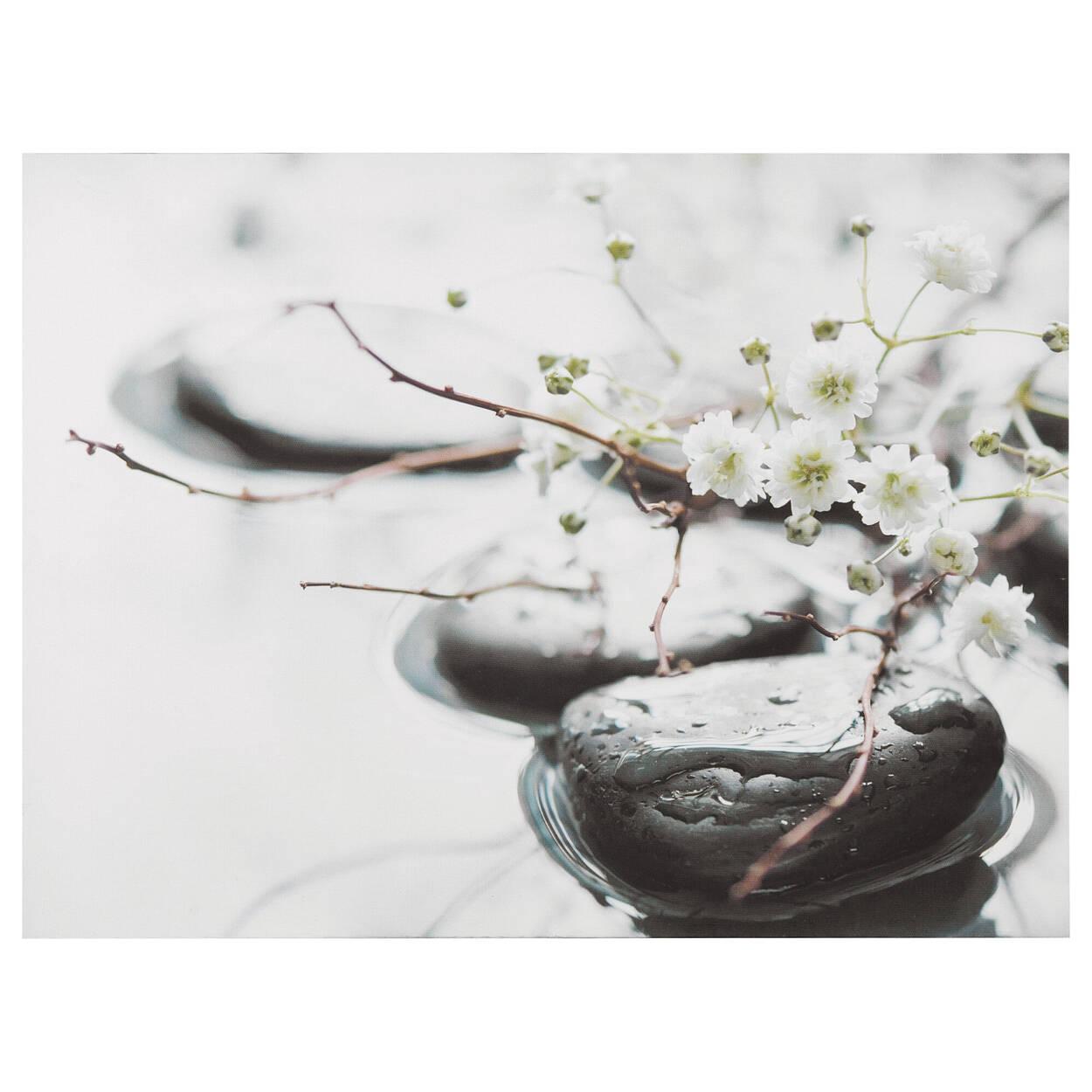 Tableau imprimé roches et fleurs Zen