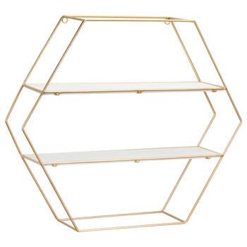 Hexagonal Gold Wire Wall Shelf