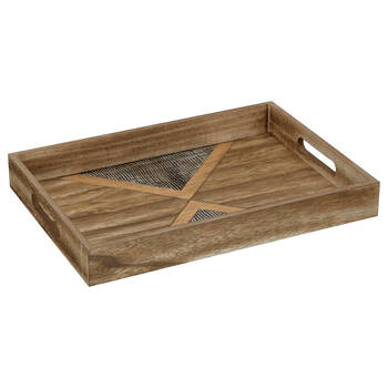 Wooden Tray with Geometrical Design