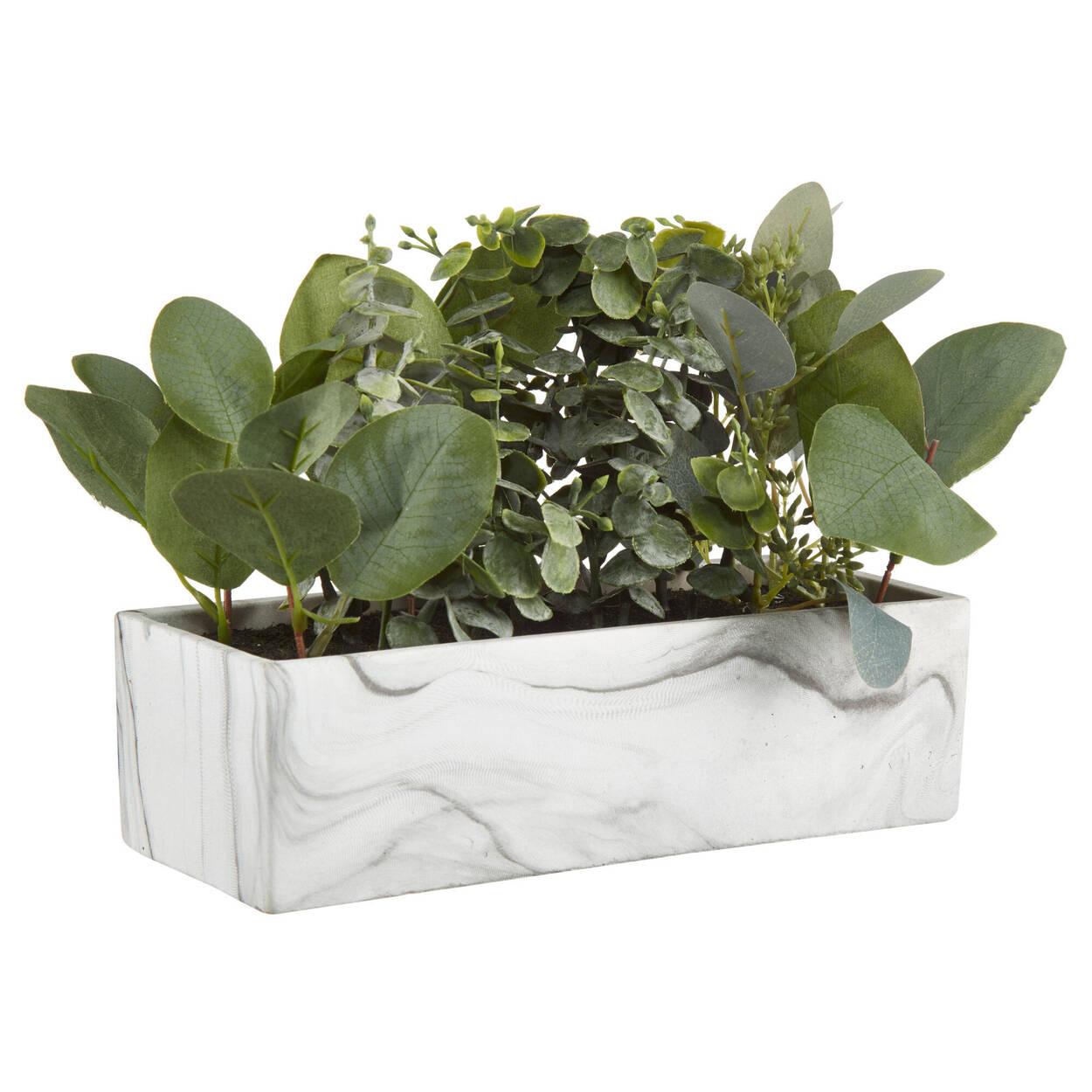 Artificial Plants Medley in Rectangular Marble Pot
