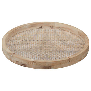 Natural Wood and Rattan Round Tray