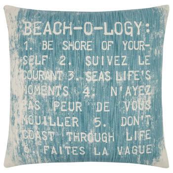 Coussin décoratif avec typographie beach o logy 18