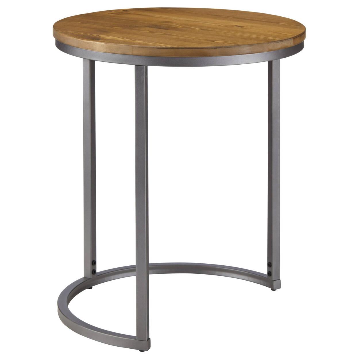 Ensemble de 2 tables d'appoint en pin avec pieds en métal