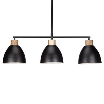3-Bulb Metal and Wood Ceiling Lamp