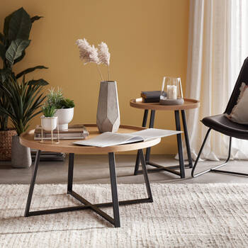 Table d'appoint en bois et en métal