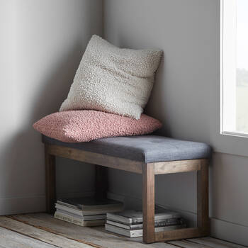 Fabric and Rubberwood Bench
