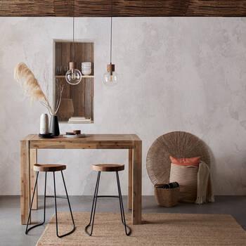 Lampe suspendue circulaire en verre et bois