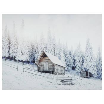 Tableau imprimé d'un chalet en hiver