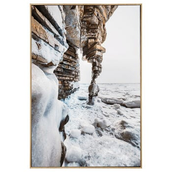 Foil-Embellished Framed Rocky Shore Printed Canvas