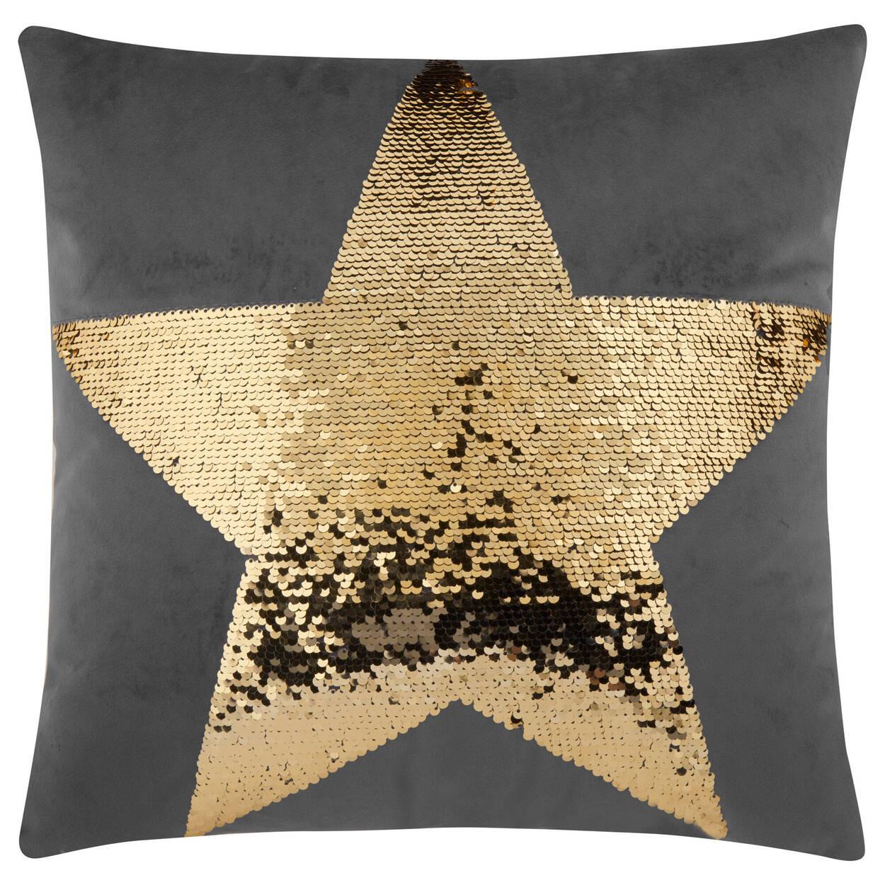 "Zoya Sequined Star Decorative Pillow 17"" X 17"""