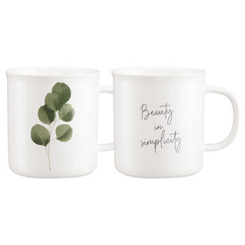 Set of 2 Mugs Ecalyptus and French Writing