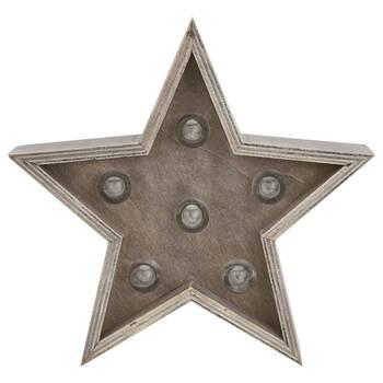 Étoile décorative en bois avec lumière DEL